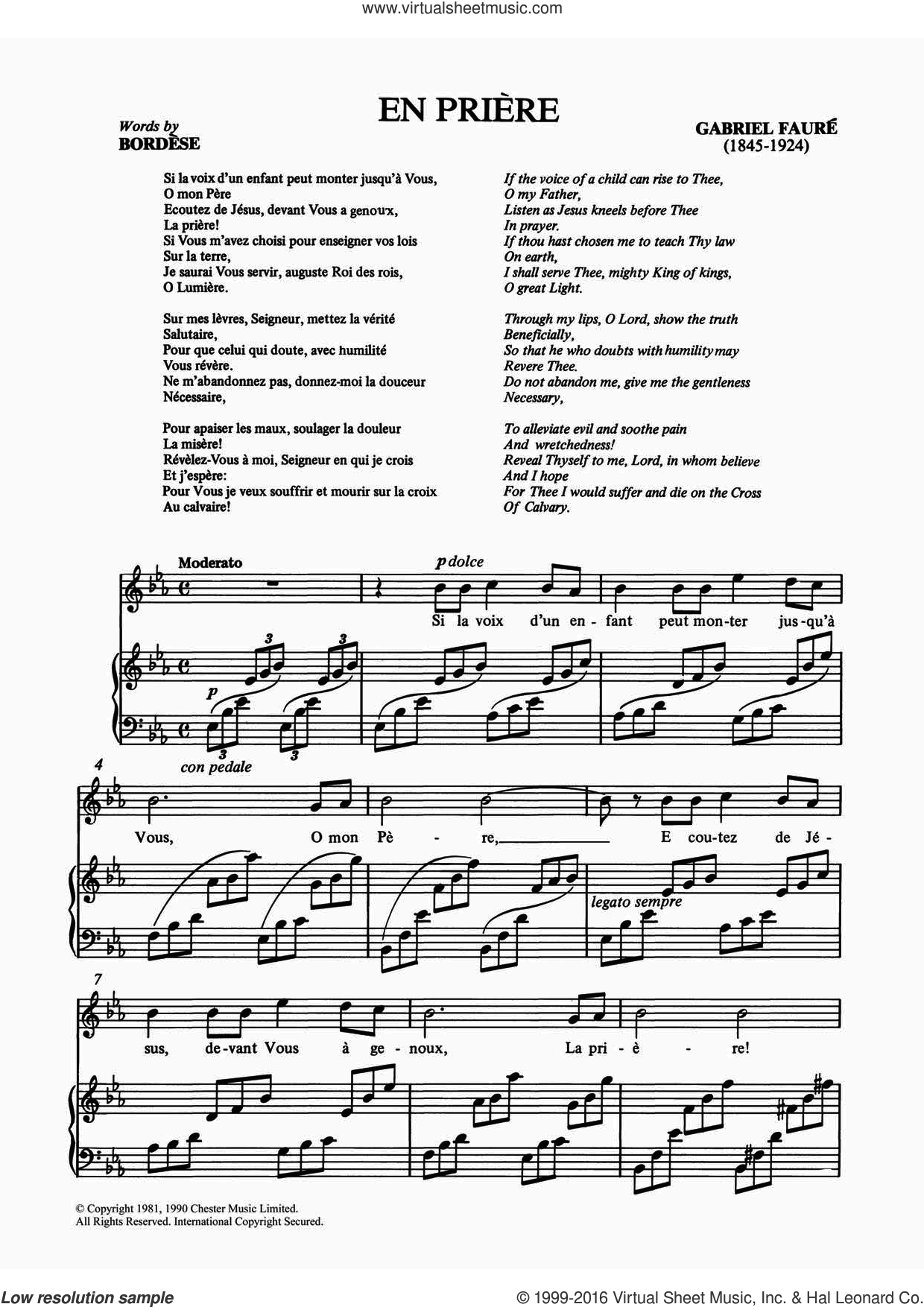 En Priere sheet music for voice and piano by Gabriel Faure. Score Image Preview.