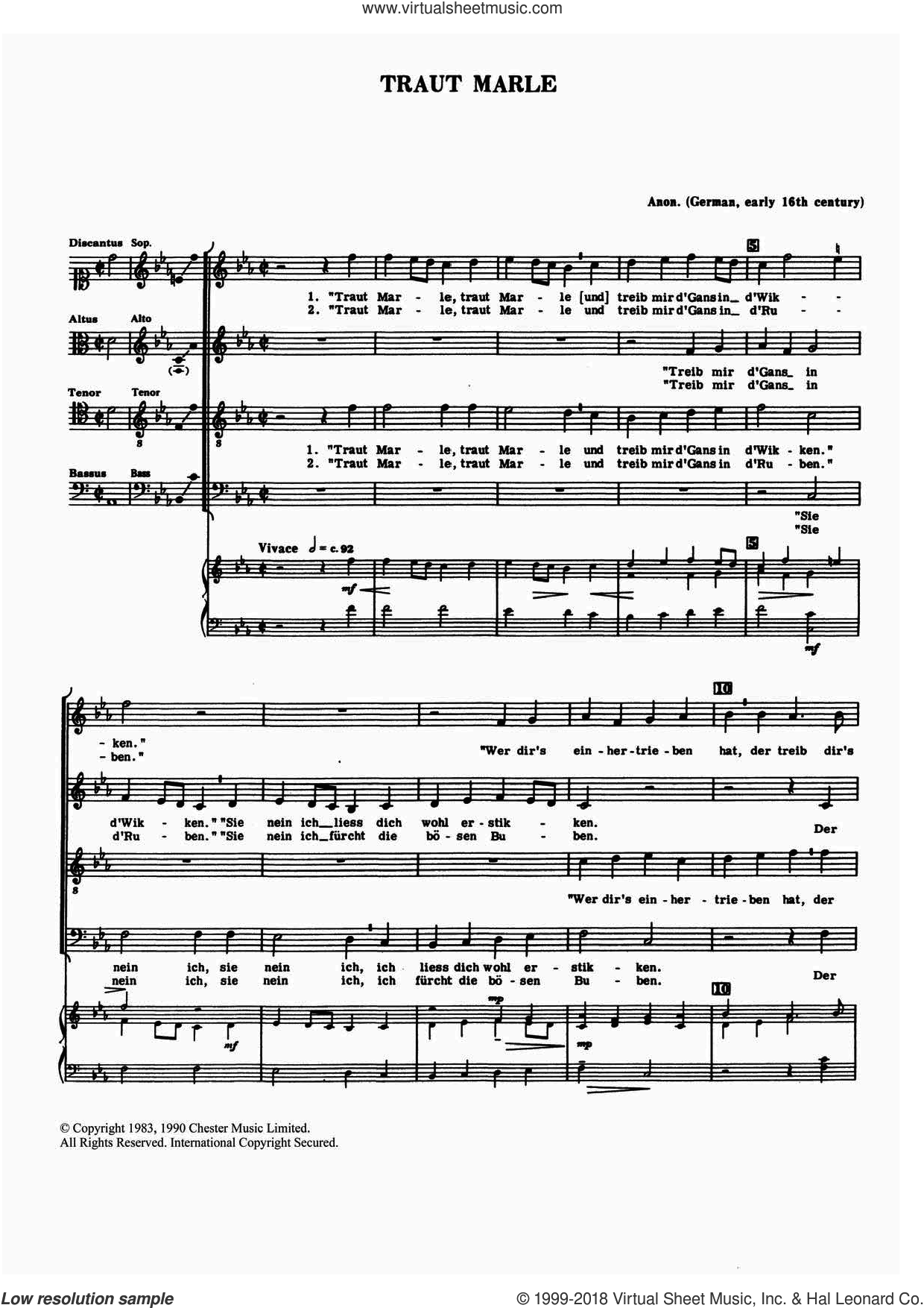 Traut Marle sheet music for choir by Anon, Anthony Petti and Miscellaneous, classical score, intermediate