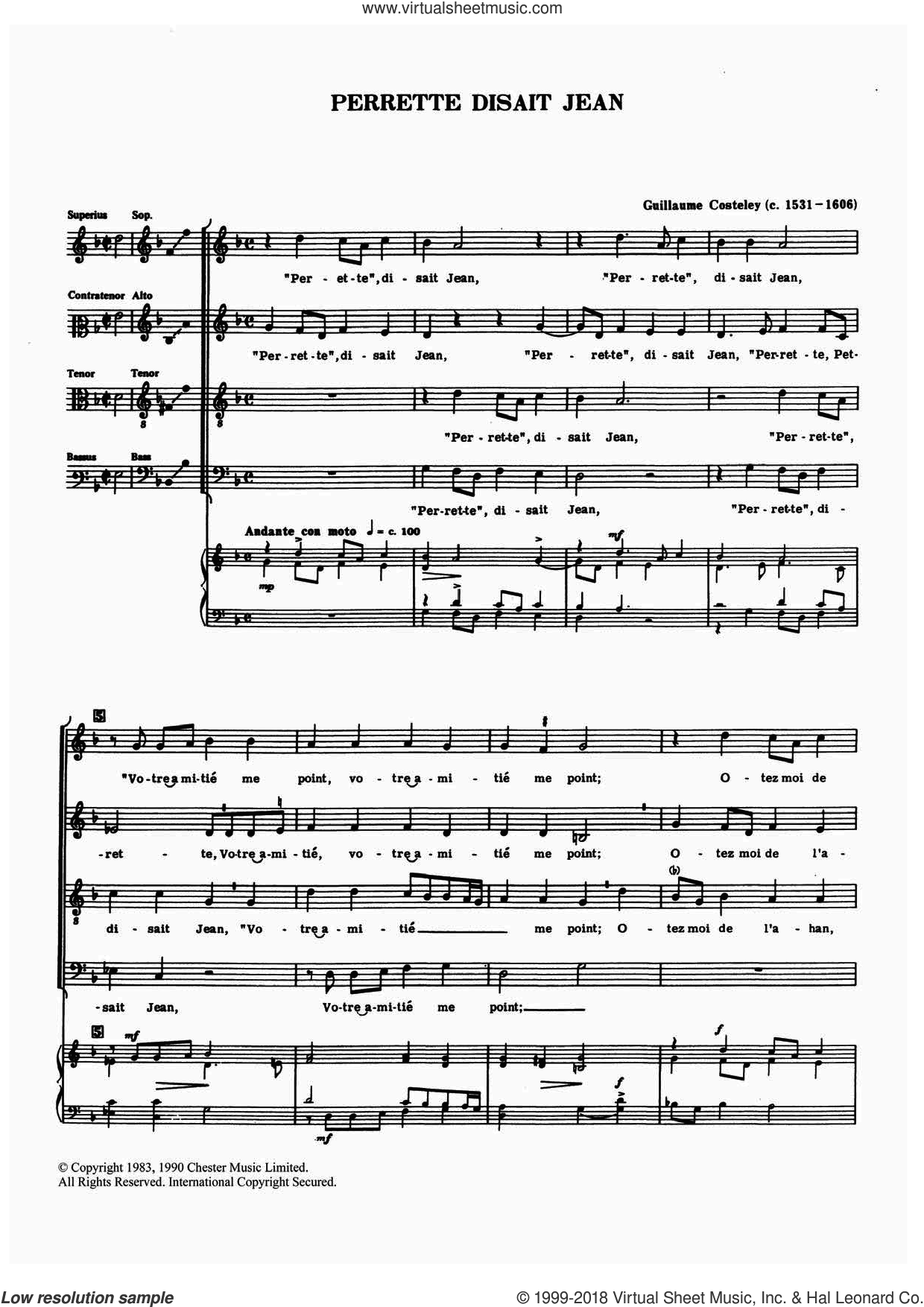 Perrette, Disait Jean sheet music for choir by Guillaume Costeley. Score Image Preview.