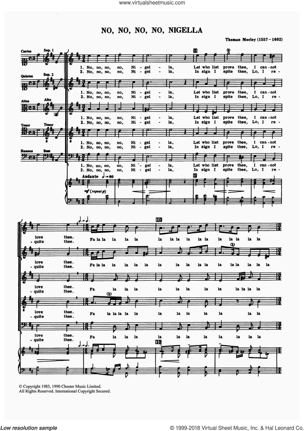No, No, No, No, Nigella sheet music for choir by Thomas Morley and Anthony Petti, classical score, intermediate skill level