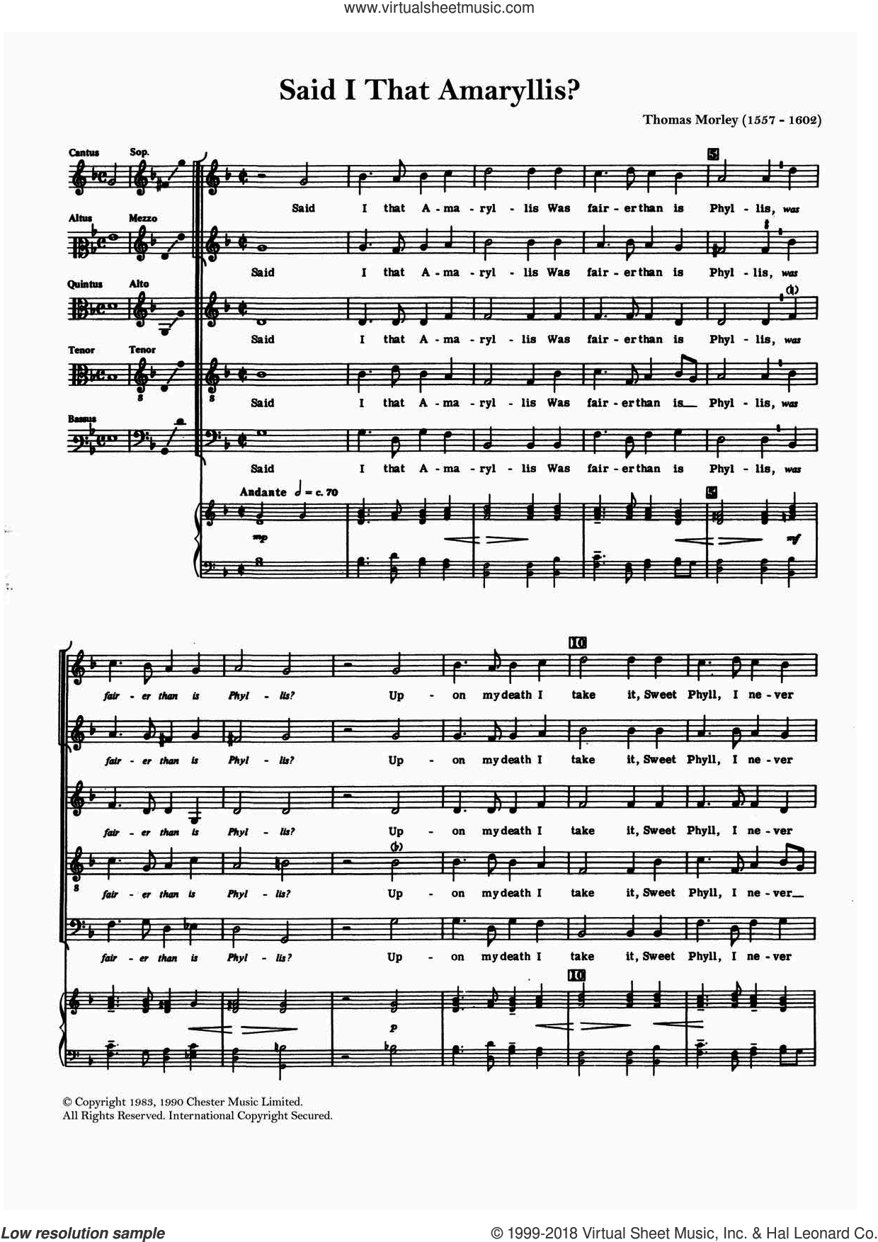 Said I That Amaryllis? sheet music for choir by Thomas Morley. Score Image Preview.