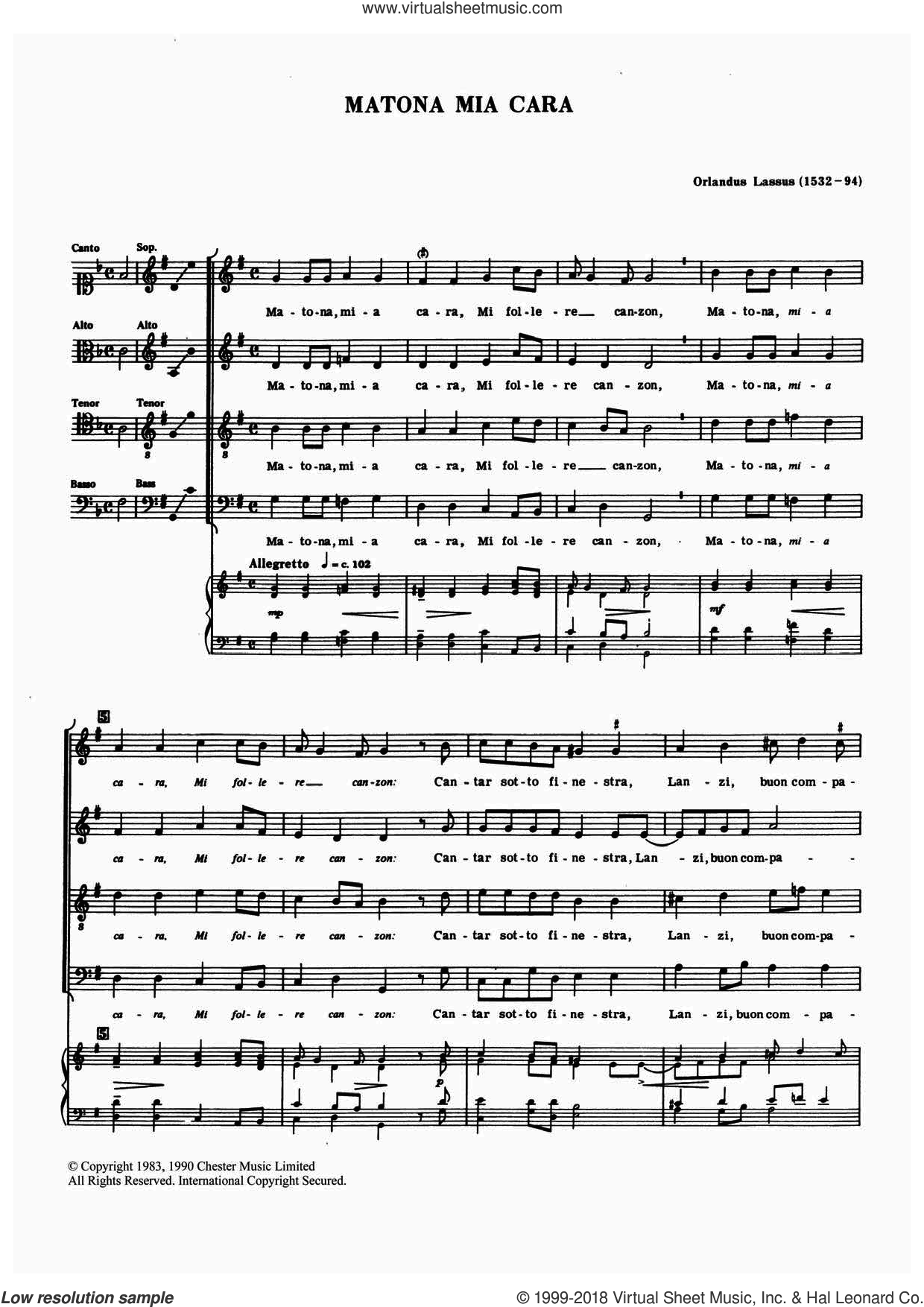 Matona Mia Cara sheet music for choir by Orlandus Lassus, classical score, intermediate. Score Image Preview.