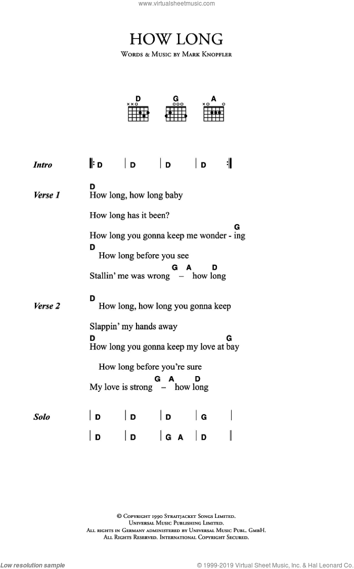 How Long sheet music for guitar (chords) by Mark Knopfler and Dire Straits. Score Image Preview.