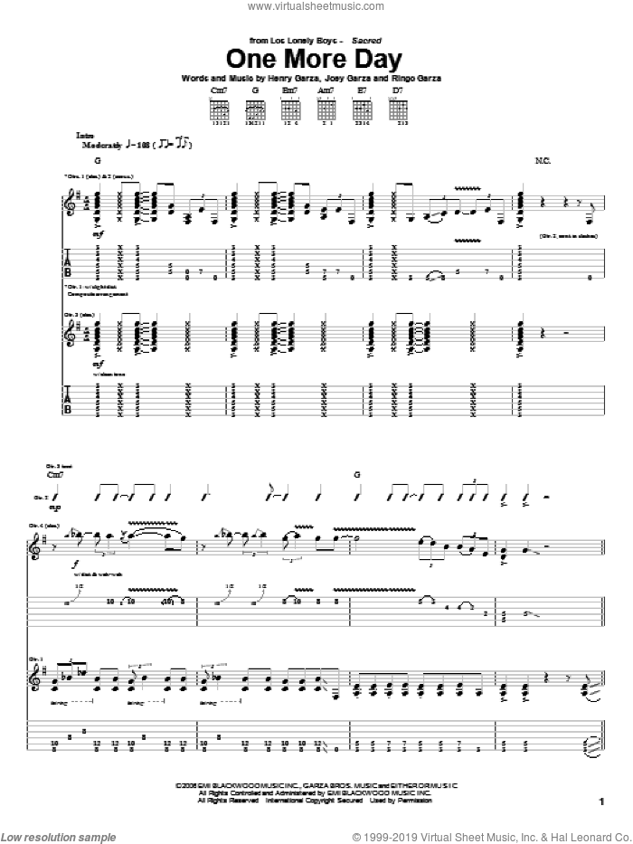 One More Day sheet music for guitar (tablature) by Los Lonely Boys, Henry Garza, Joey Garza and Ringo Garza, intermediate skill level