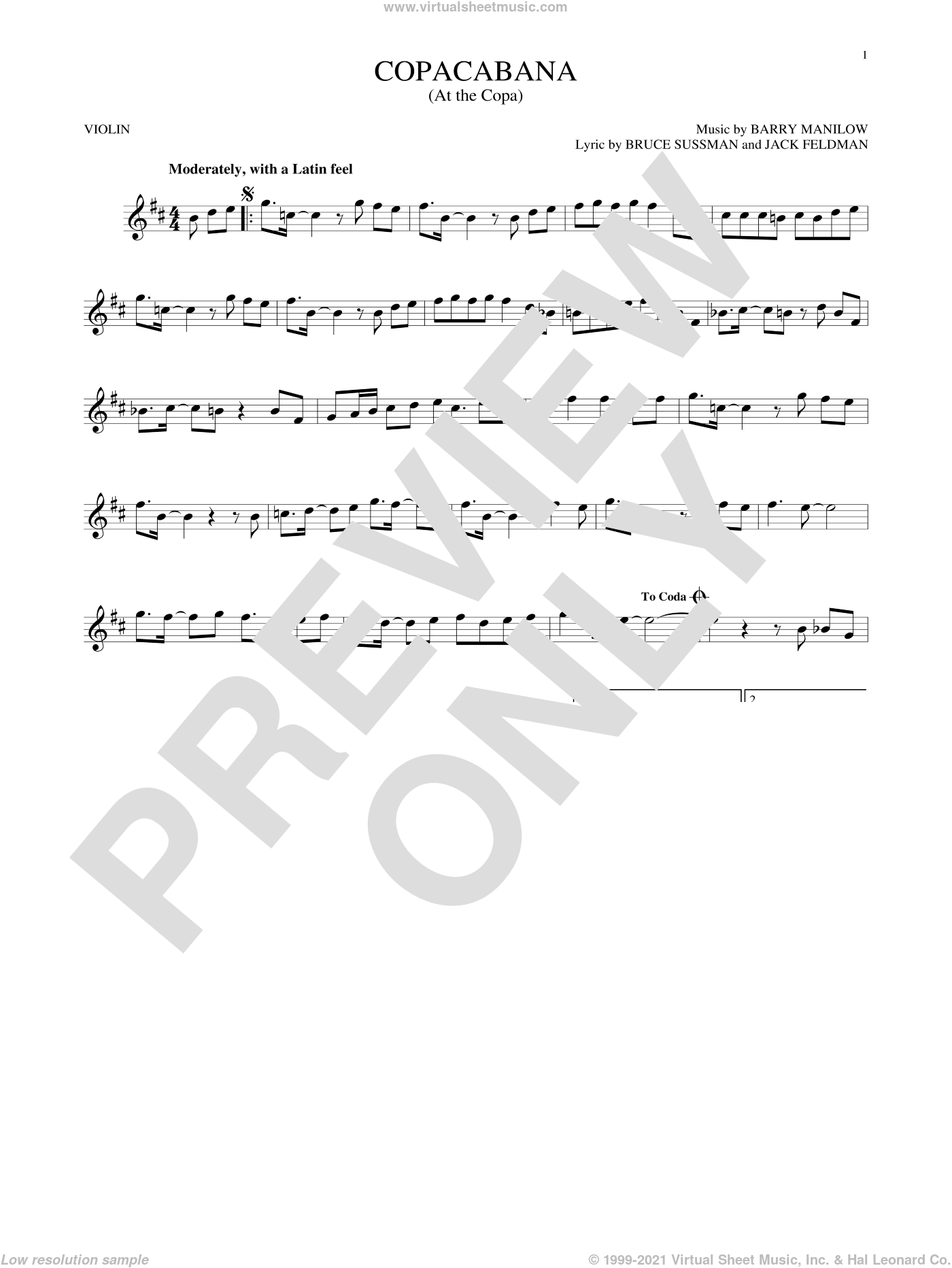 Copacabana (At The Copa) sheet music for violin solo by Barry Manilow, Bruce Sussman and Jack Feldman, intermediate skill level