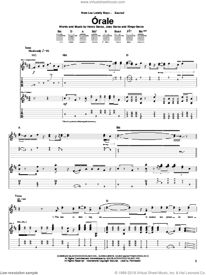 Orale sheet music for guitar (tablature) by Ringo Garza and Los Lonely Boys. Score Image Preview.