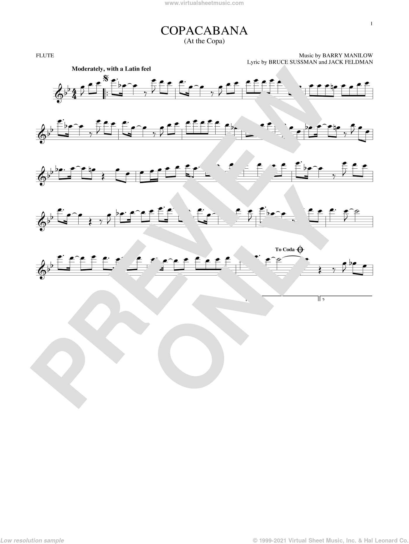 Copacabana (At The Copa) sheet music for flute solo by Barry Manilow, Bruce Sussman and Jack Feldman, intermediate skill level