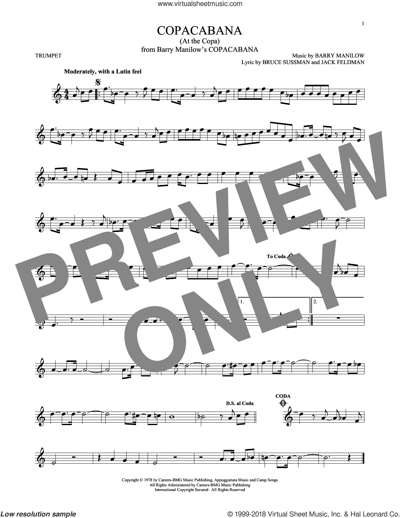Copacabana (At The Copa) sheet music for trumpet solo by Barry Manilow, Bruce Sussman and Jack Feldman, intermediate skill level