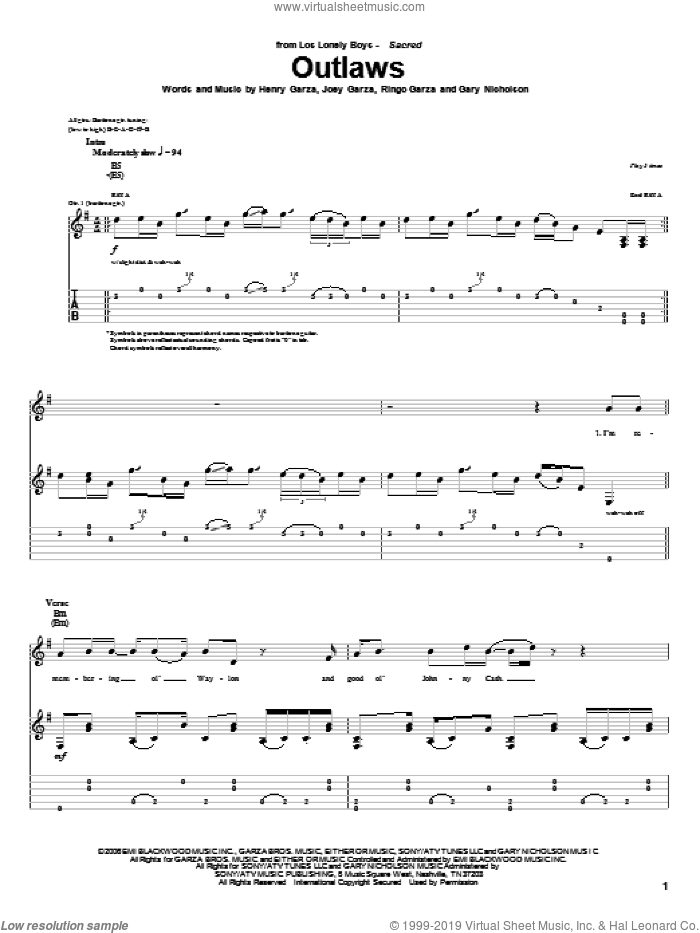 Outlaws sheet music for guitar (tablature) by Los Lonely Boys, intermediate. Score Image Preview.