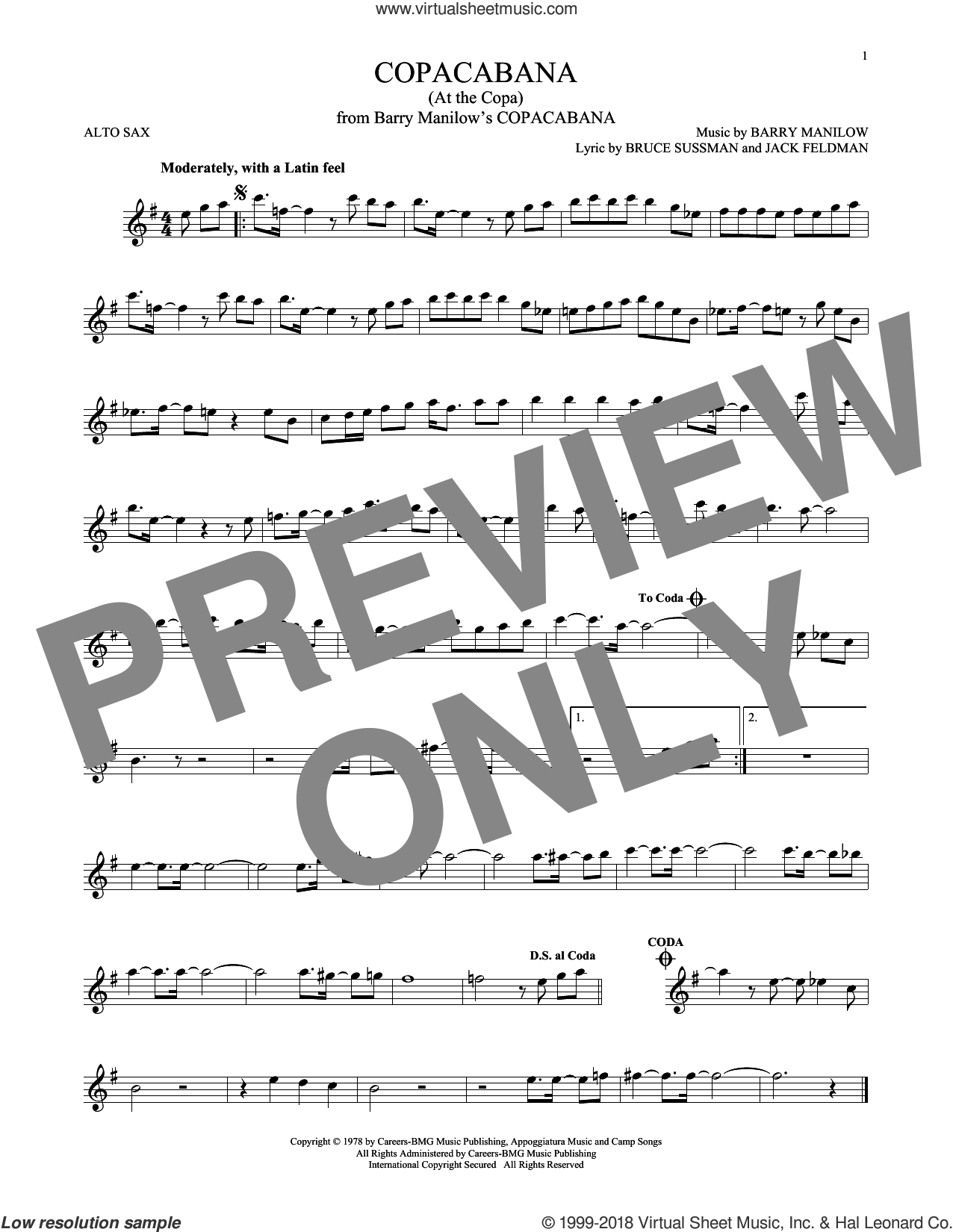 Copacabana (At The Copa) sheet music for alto saxophone solo by Barry Manilow, Bruce Sussman and Jack Feldman, intermediate skill level