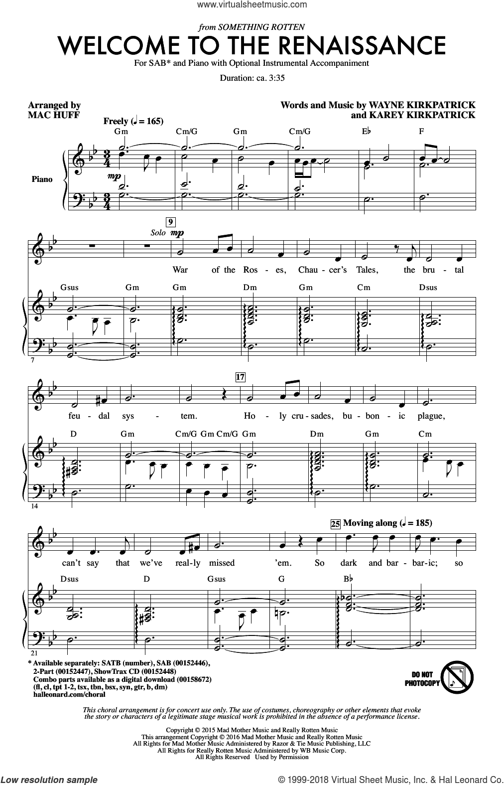 Welcome To The Renaissance sheet music for choir (SAB: soprano, alto, bass) by Wayne Kirkpatrick, Mac Huff and Karey Kirkpatrick, intermediate skill level