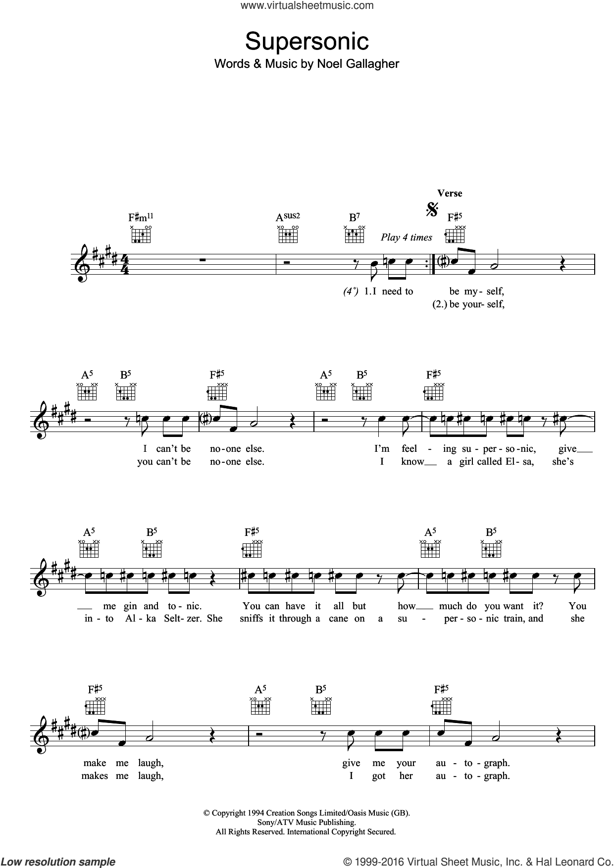 Supersonic sheet music for voice and other instruments (fake book) by Oasis and Noel Gallagher, intermediate skill level