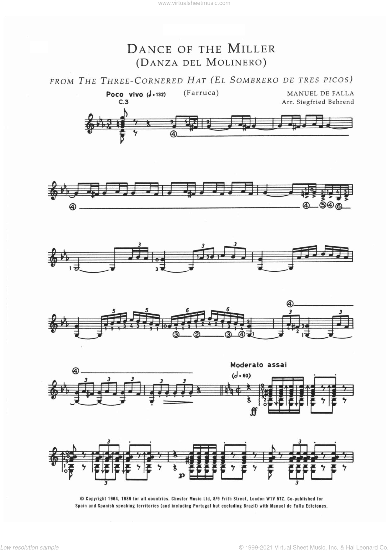 Danza Del Molinero ('The Miller's Dance') (From El Sombrero De Tres Picos ('The Three-Cornered Hat') sheet music for guitar solo (chords) by Manuel De Falla, classical score, easy guitar (chords). Score Image Preview.