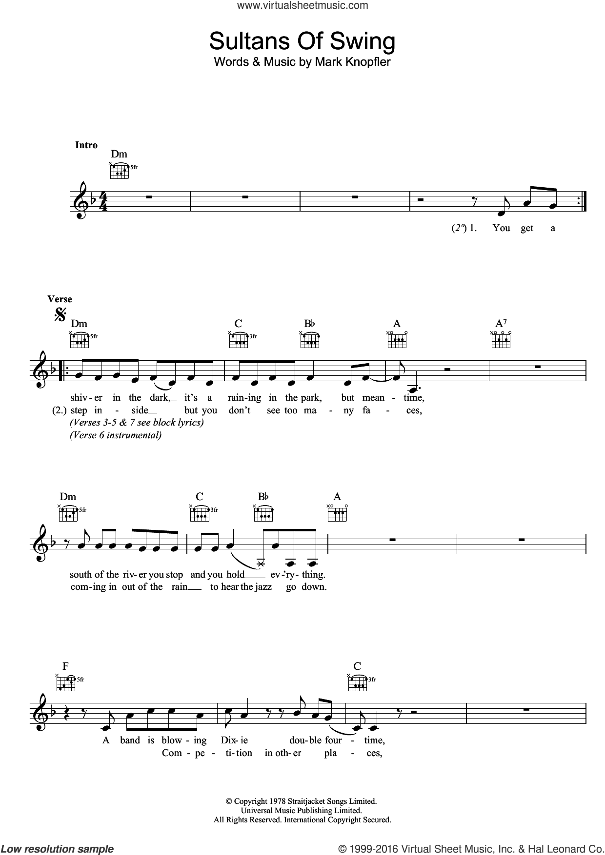Sultans Of Swing sheet music for voice and other instruments (fake book) by Dire Straits and Mark Knopfler, intermediate skill level