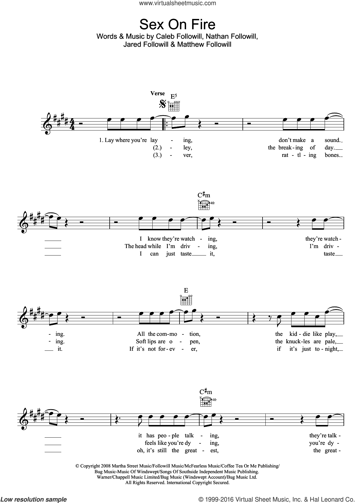 Sex On Fire sheet music for voice and other instruments (fake book) by Kings Of Leon, Caleb Followill, Jared Followill, Matthew Followill and Nathan Followill, intermediate