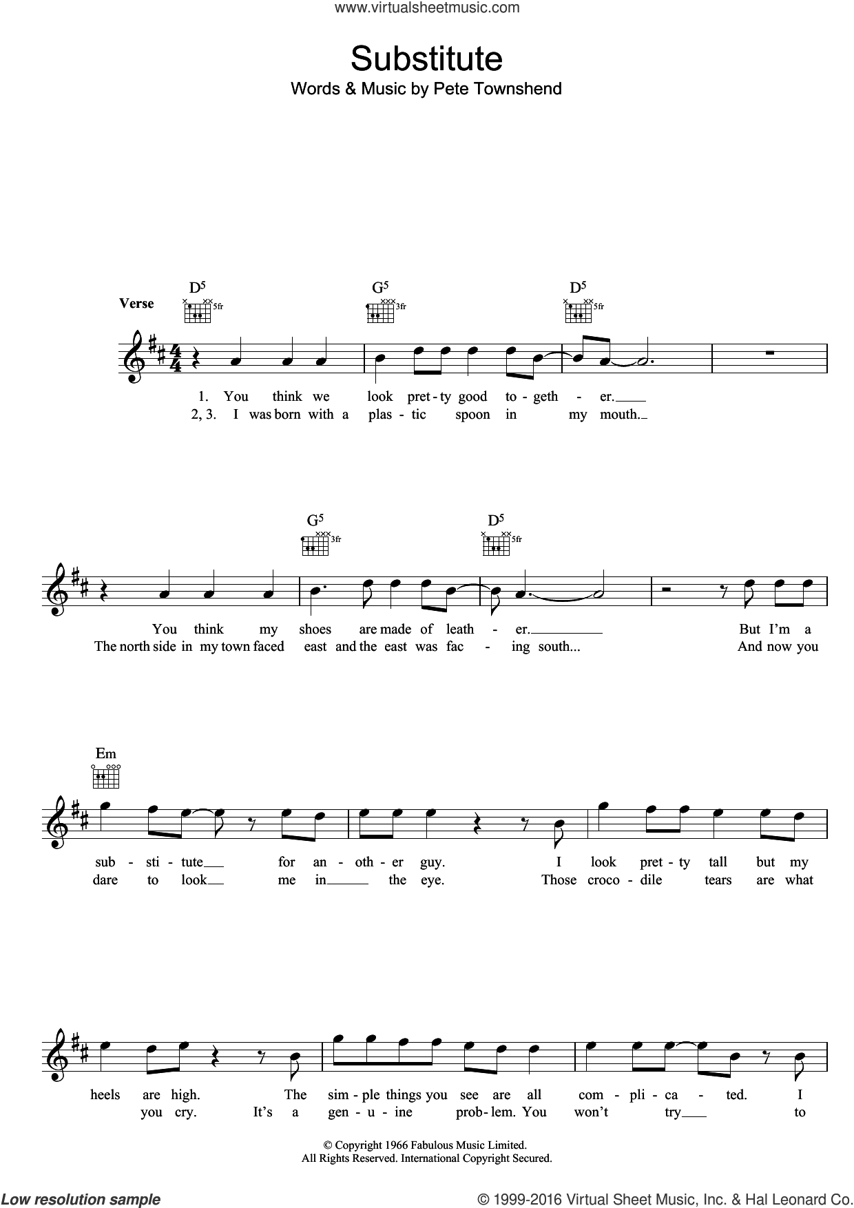 Substitute sheet music for voice and other instruments (fake book) by The Who and Pete Townshend, intermediate skill level