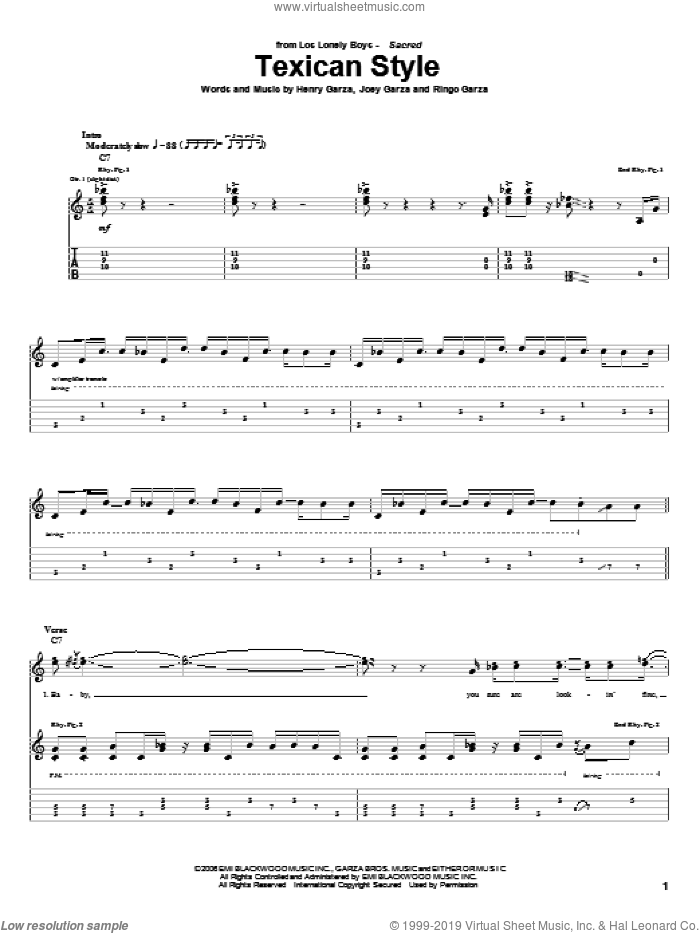 Texican Style sheet music for guitar (tablature) by Los Lonely Boys. Score Image Preview.
