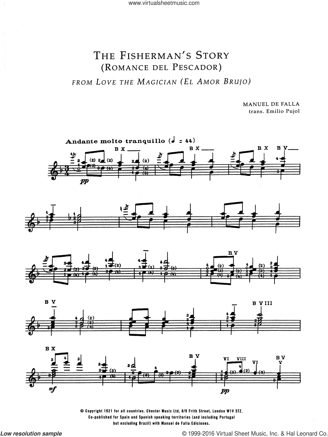The Fisherman's Story (Romance Del Pescador From El Amor Brujo) sheet music for guitar solo (chords) by Manuel De Falla, classical score, easy guitar (chords). Score Image Preview.