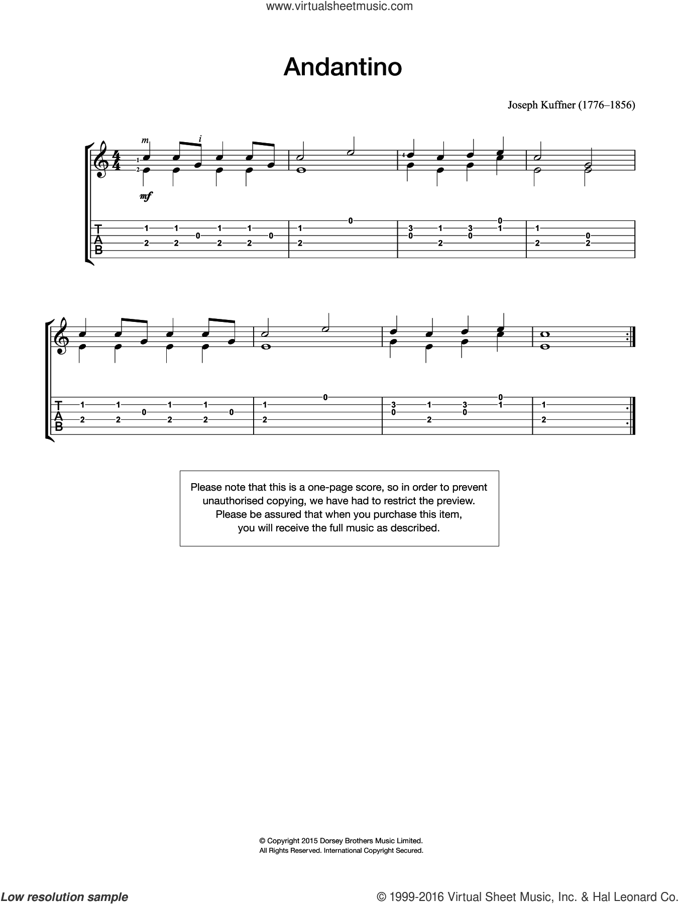 Andantino sheet music for guitar solo (chords) by Joseph Kuffner, classical score, easy guitar (chords). Score Image Preview.