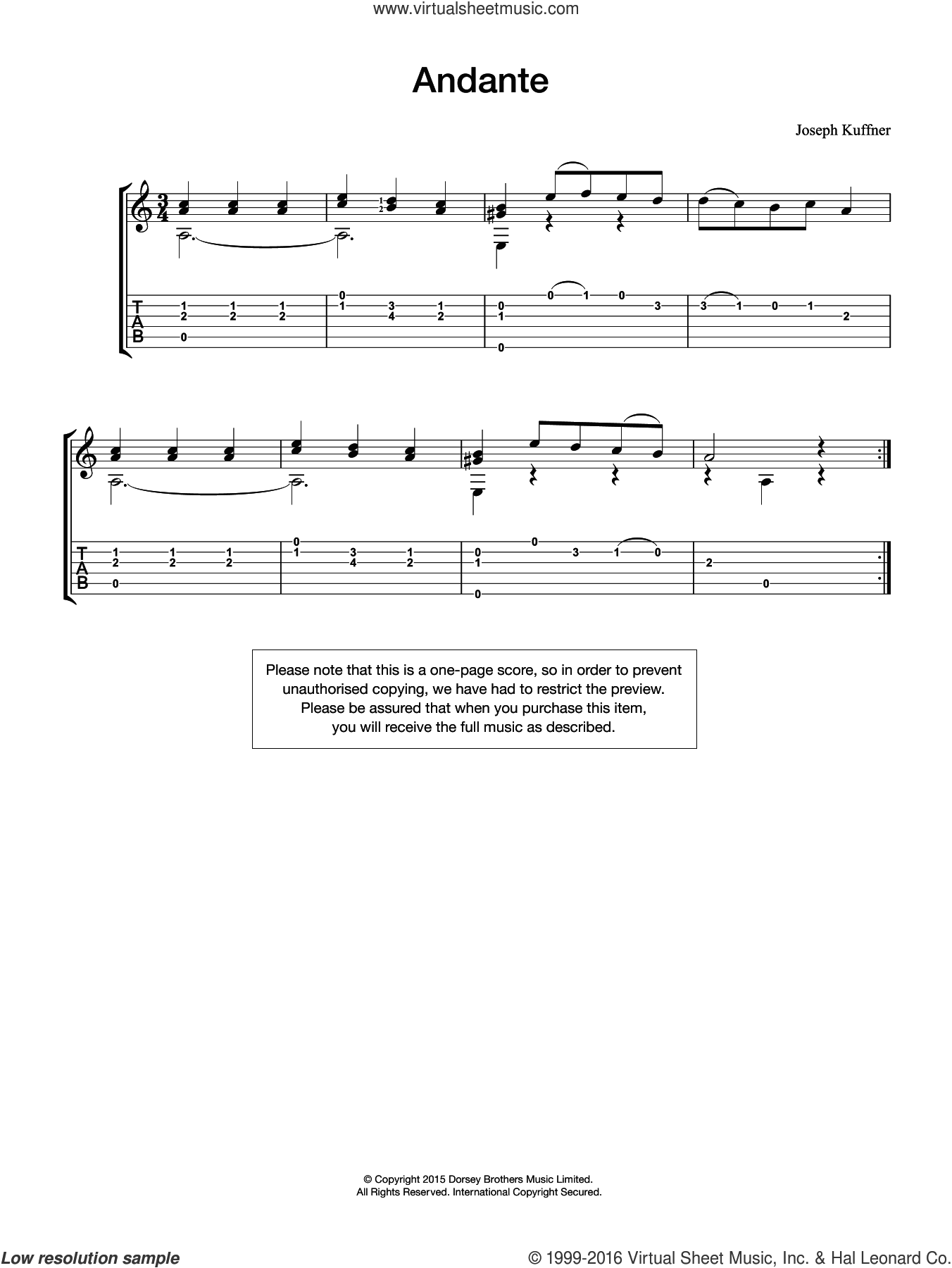 Andante sheet music for guitar solo (chords) by Joseph Kuffner. Score Image Preview.