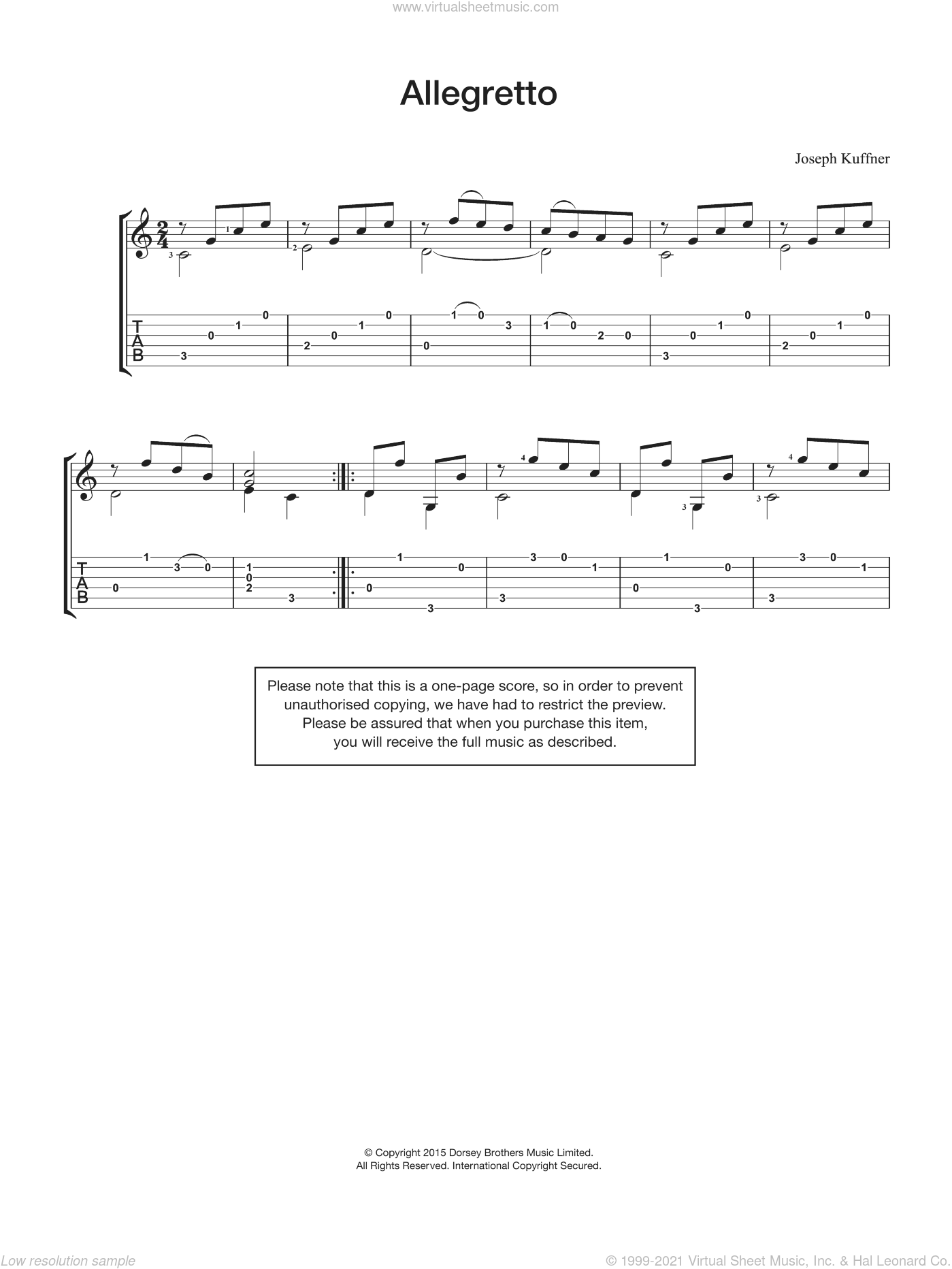 Allegretto sheet music for guitar solo (chords) by Joseph Kuffner, classical score, easy guitar (chords). Score Image Preview.