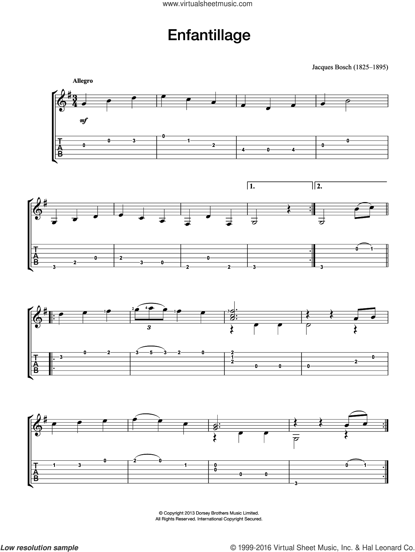 Enfantillage sheet music for guitar solo (chords) by Jacques Bosch, classical score, easy guitar (chords). Score Image Preview.