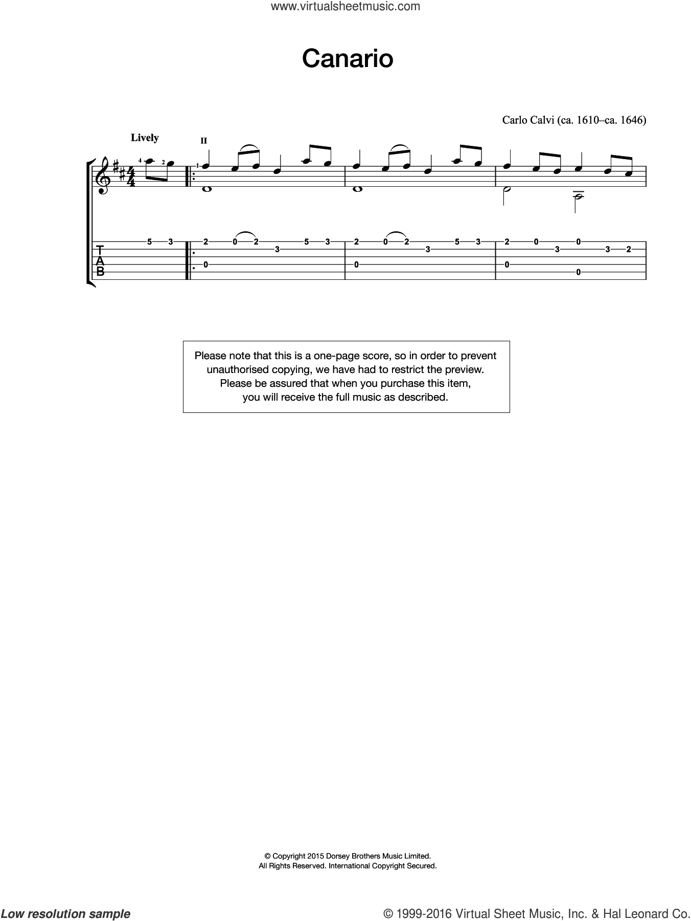 Canario sheet music for guitar solo (chords) by Carlo Calvi. Score Image Preview.