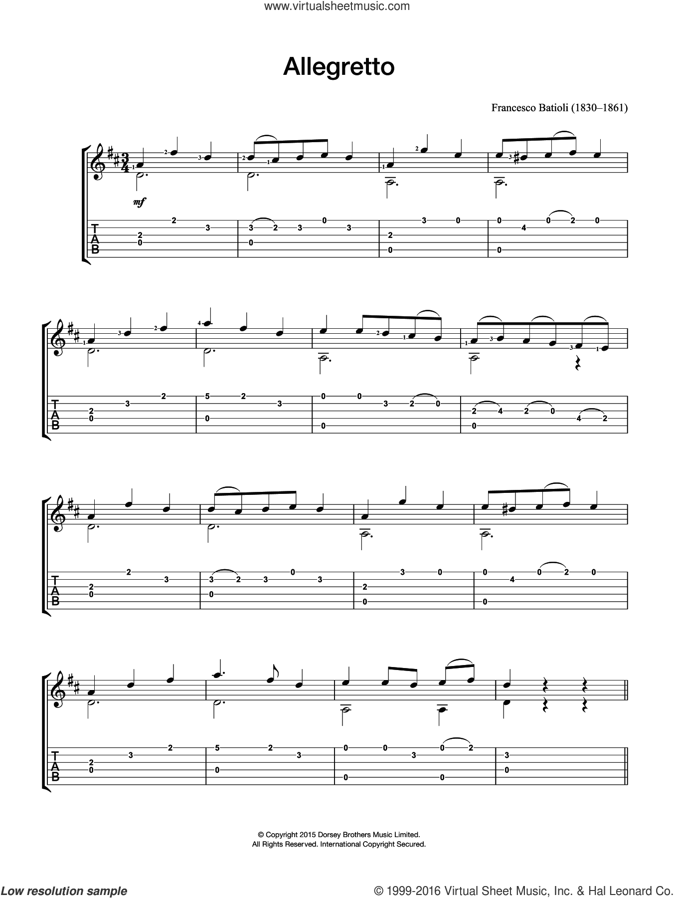 Allegretto sheet music for guitar solo (chords) by Francesco Batioli, classical score, easy guitar (chords)