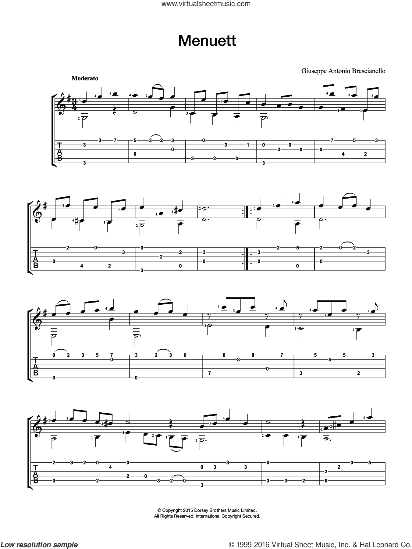 Menuett sheet music for guitar solo (chords) by Giuseppe Antonio Brescianello, classical score, easy guitar (chords). Score Image Preview.
