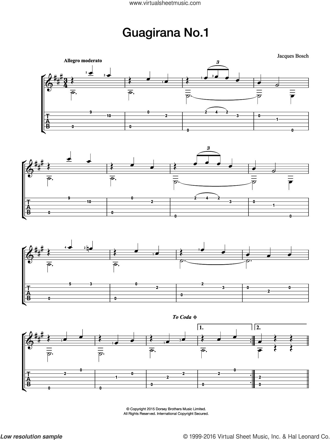 Guagirana No. 1 sheet music for guitar solo (chords) by Jacques Bosch, classical score, easy guitar (chords). Score Image Preview.