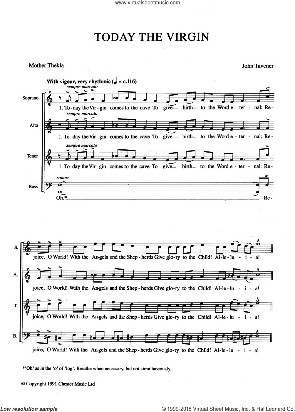 Today The Virgin sheet music for choir by Mother Thekla and John Tavener. Score Image Preview.
