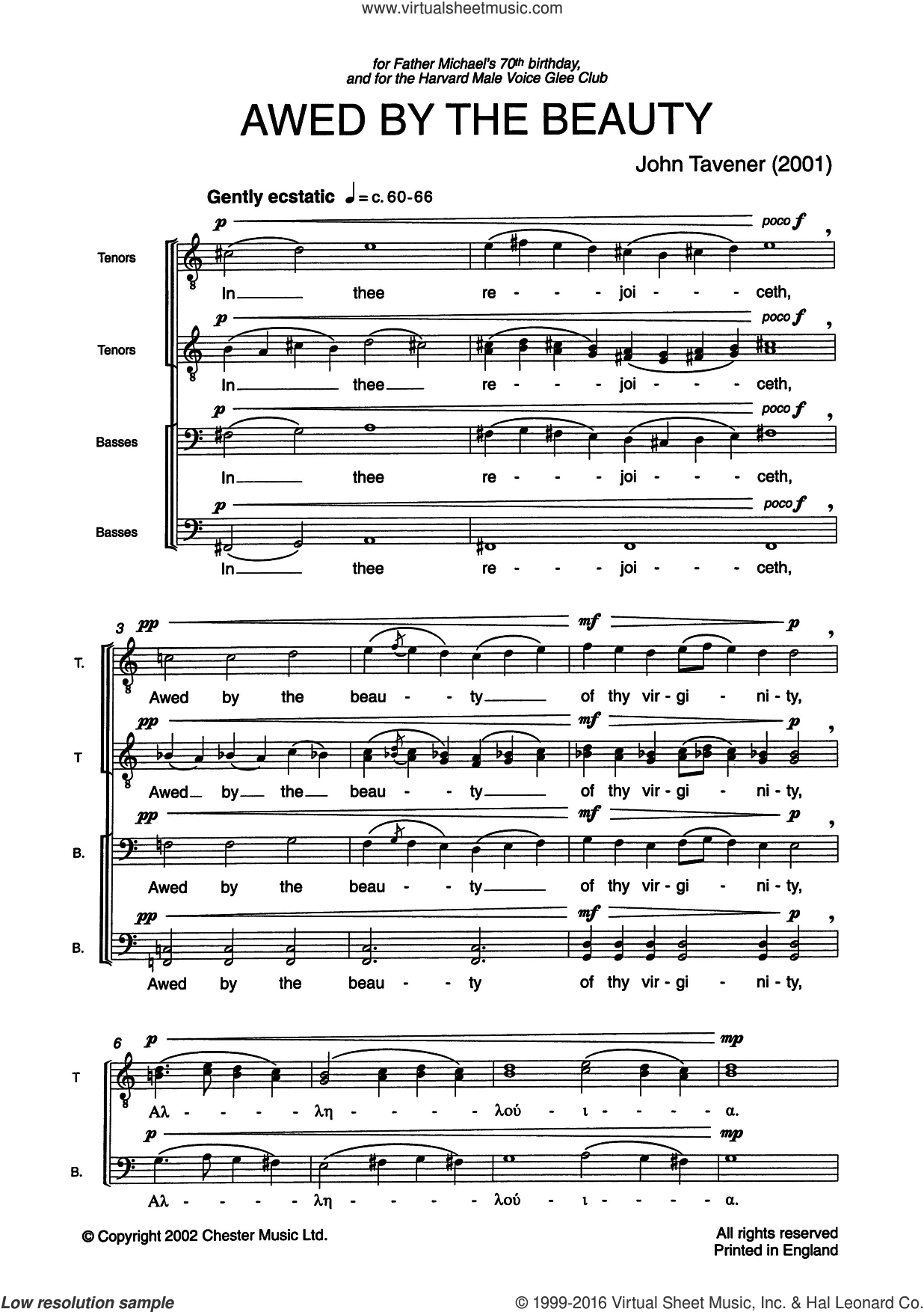 Awed By The Beauty sheet music for voice, piano or guitar by Liturgical Text and John Tavener. Score Image Preview.