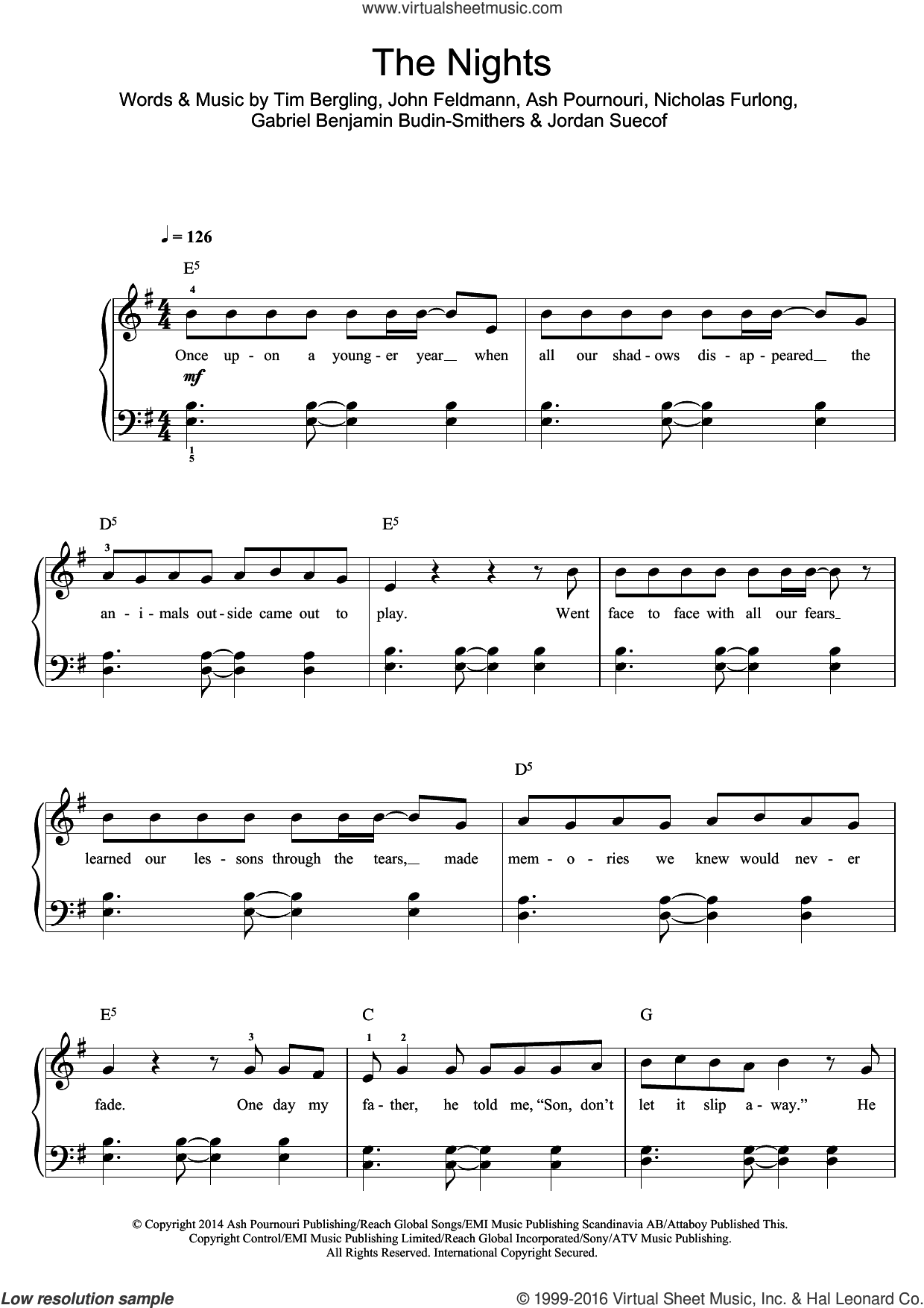 The Nights sheet music for voice, piano or guitar by Tim Bergling, Avicii, Ash Pournouri, John Feldmann and Nicholas
