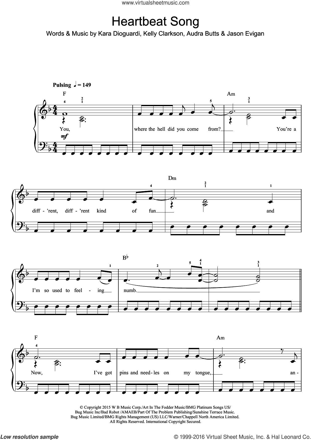 Heartbeat Song sheet music for voice, piano or guitar by Kelly Clarkson, Jason Evigan and Kara DioGuardi. Score Image Preview.