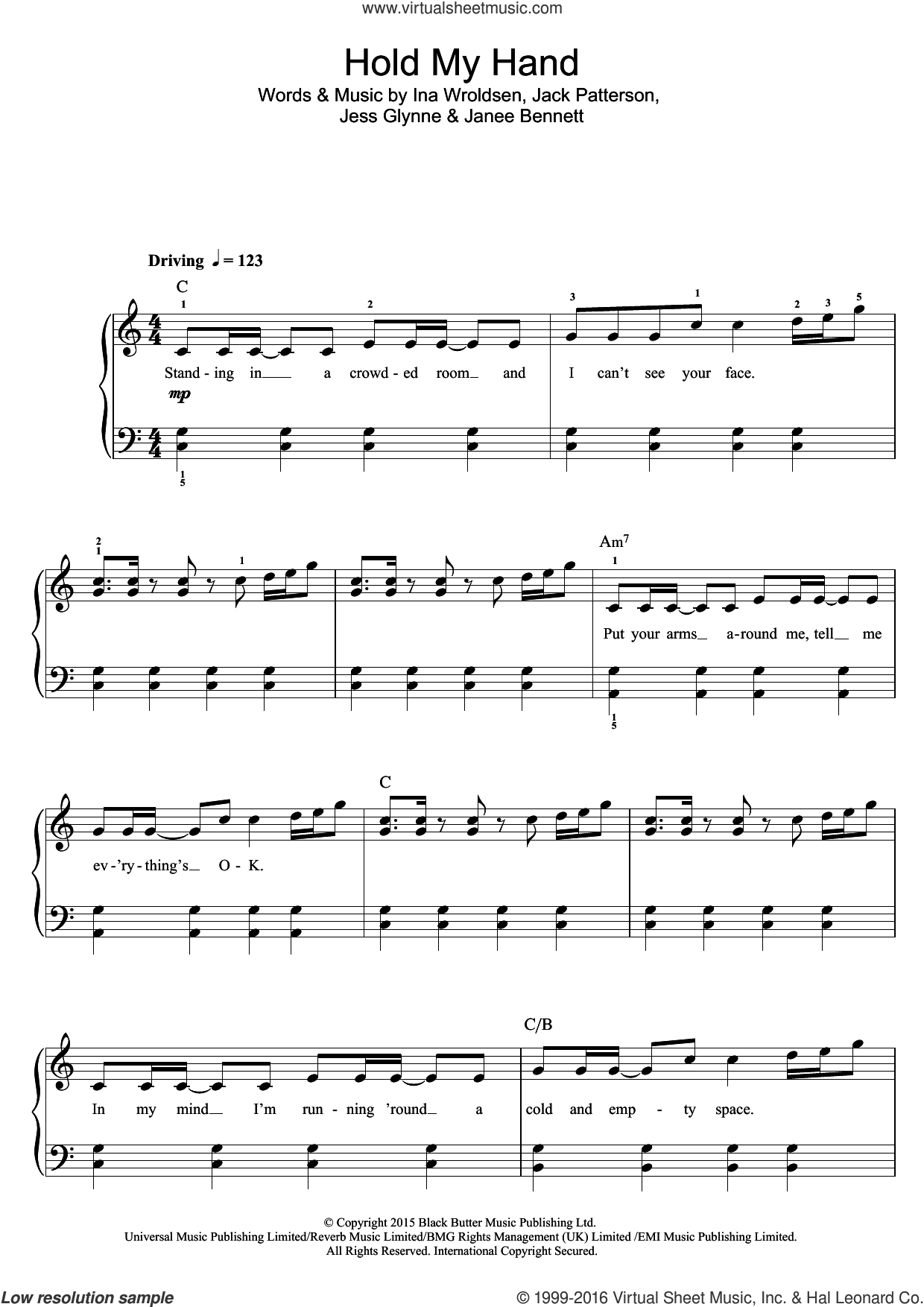 Hold My Hand sheet music for voice, piano or guitar by Jess Glynne. Score Image Preview.