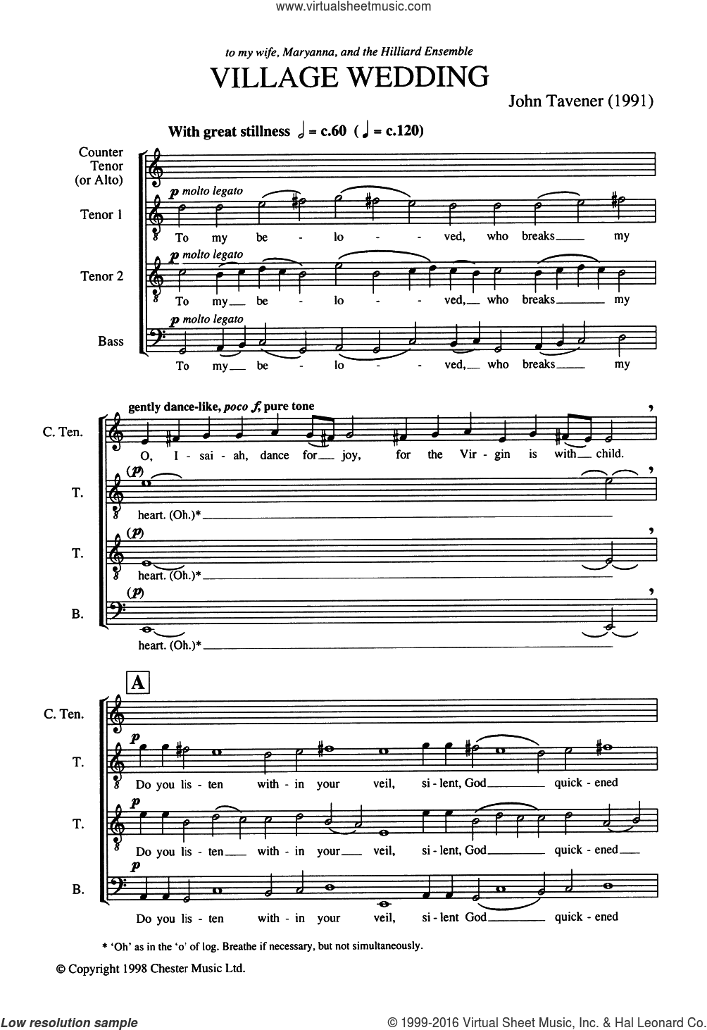 Village Wedding sheet music for voice, piano or guitar by Angelos Sikelianos and John Tavener. Score Image Preview.