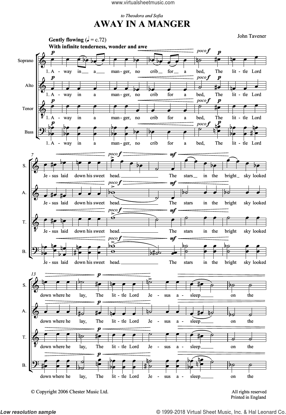 Away In A Manger sheet music for choir by John Tavener and Miscellaneous, classical score, intermediate skill level