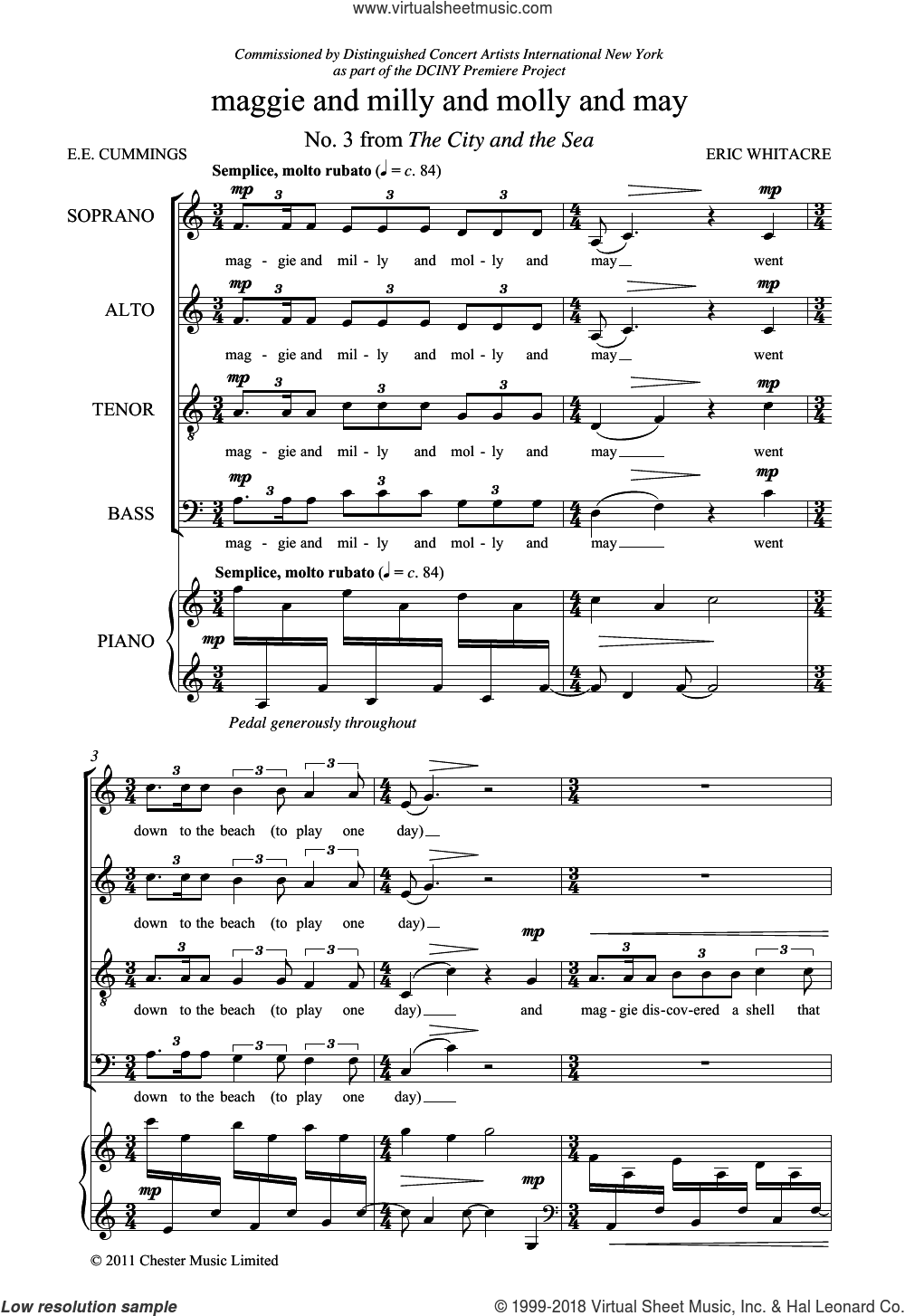 Maggie And Milly And Molly And May (From 'The City And The Sea') sheet music for choir and piano by E.E. Cummings