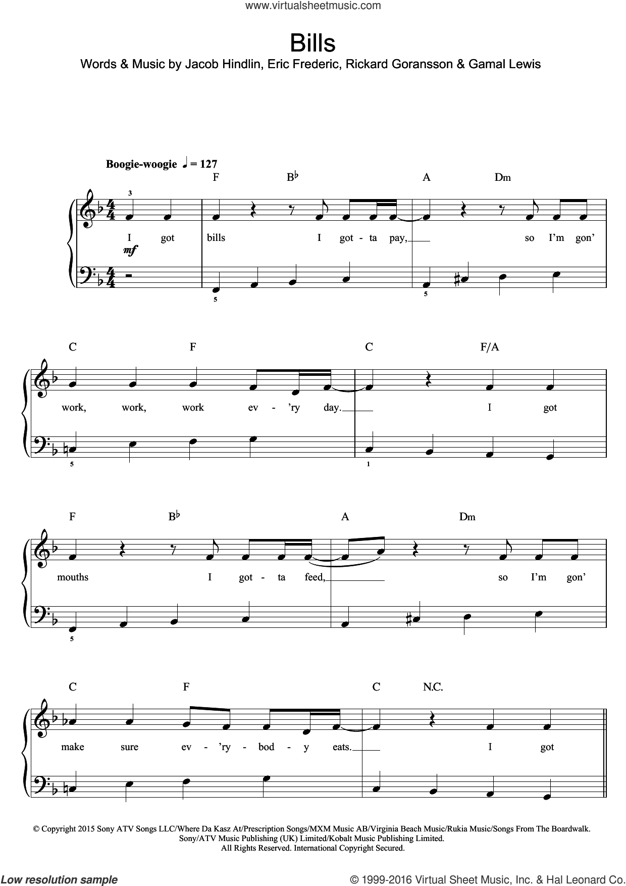 Bills sheet music for voice, piano or guitar by LunchMoney Lewis and Eric Frederic. Score Image Preview.