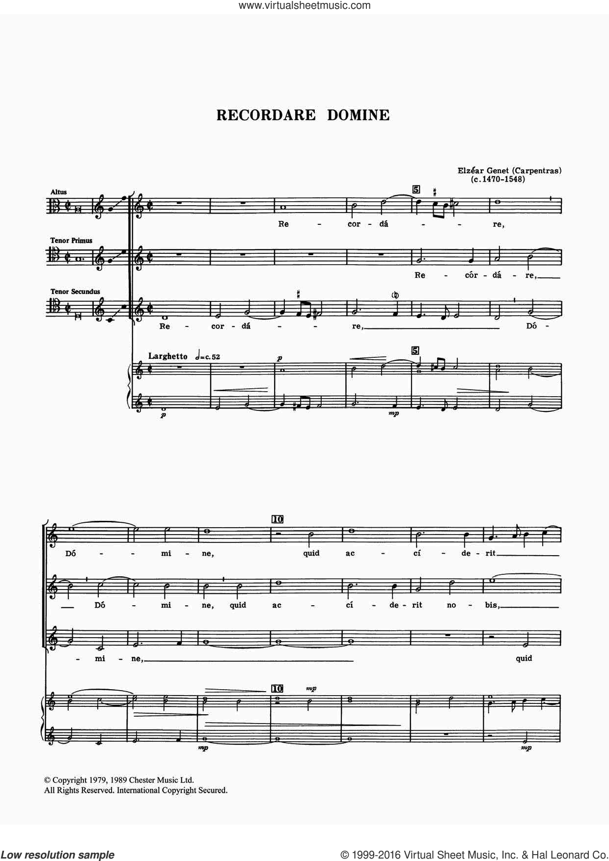 Recordare Domine sheet music for voice, piano or guitar by Elzear Genet, classical score, intermediate. Score Image Preview.