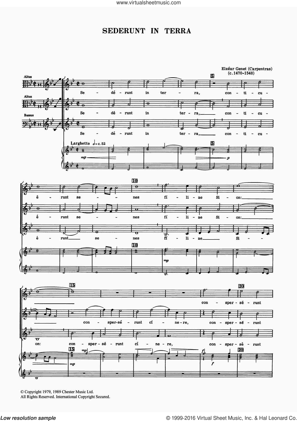 Sederunt In Terra sheet music for voice, piano or guitar by Elzear Genet. Score Image Preview.