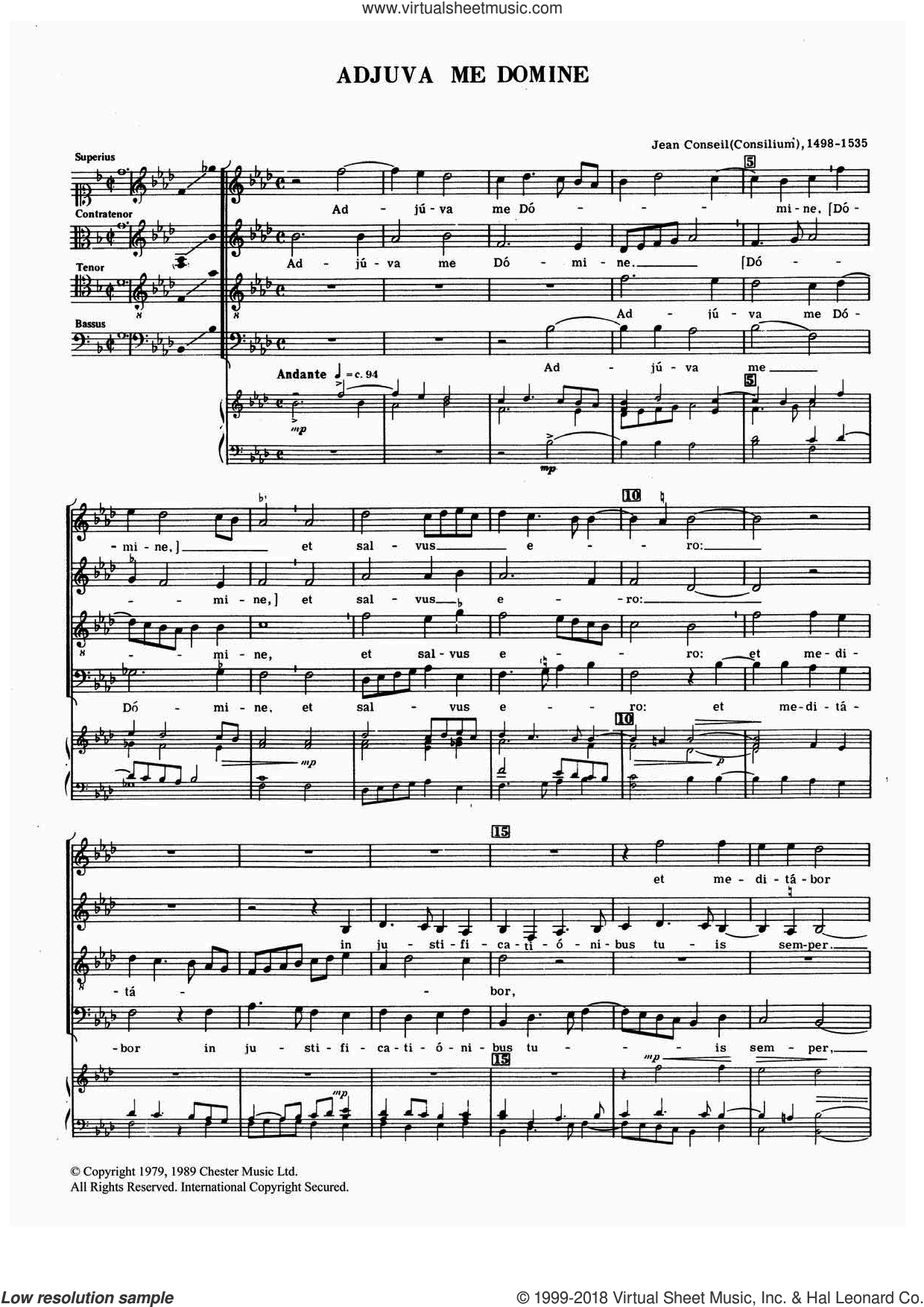 Adjuva Me Domine sheet music for choir by Jean Conseil, classical score, intermediate. Score Image Preview.