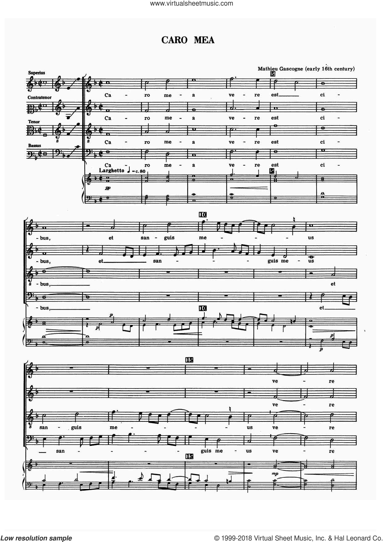 Caro Mea sheet music for choir by Mathieu Gascogne, classical score, intermediate. Score Image Preview.