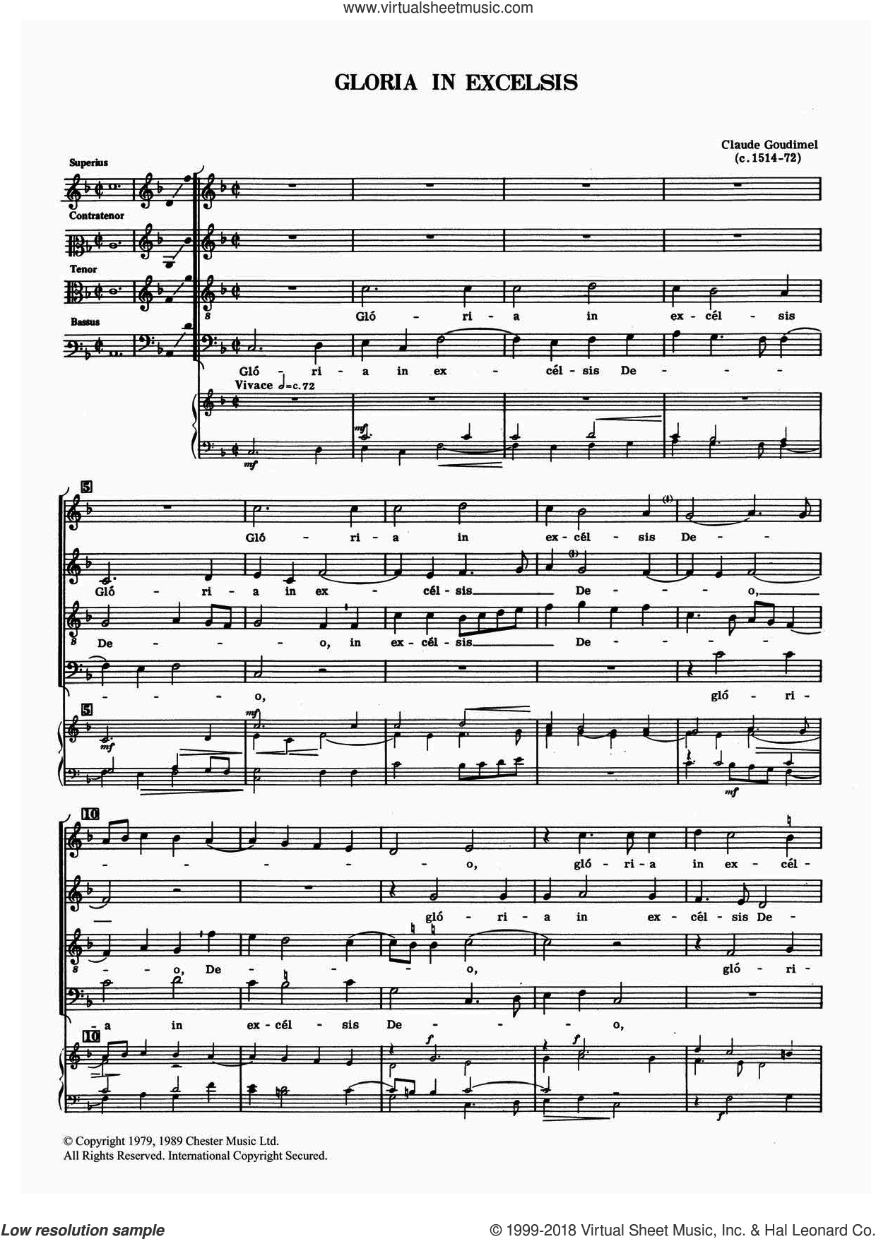 Gloria In Excelsis sheet music for choir by Claude Goudimel. Score Image Preview.