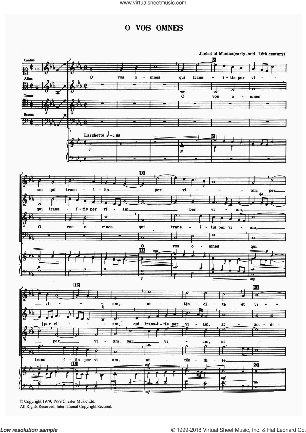 O Vos Omnes sheet music for choir by Jachet of Mantua, classical score, intermediate skill level