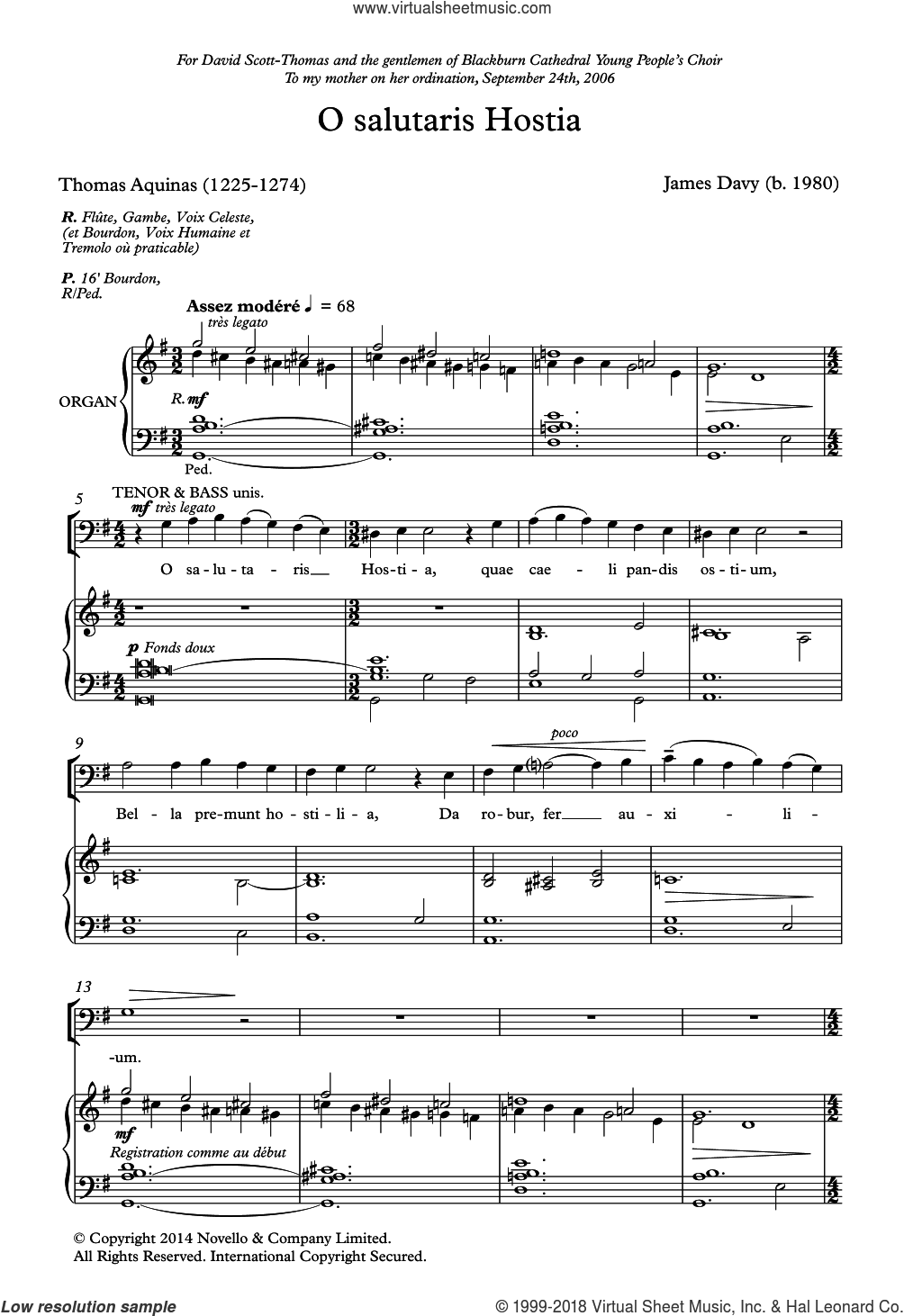 O Salutaris Hostia sheet music for choir by James Davy and Thomas Aquinas, classical score, intermediate skill level