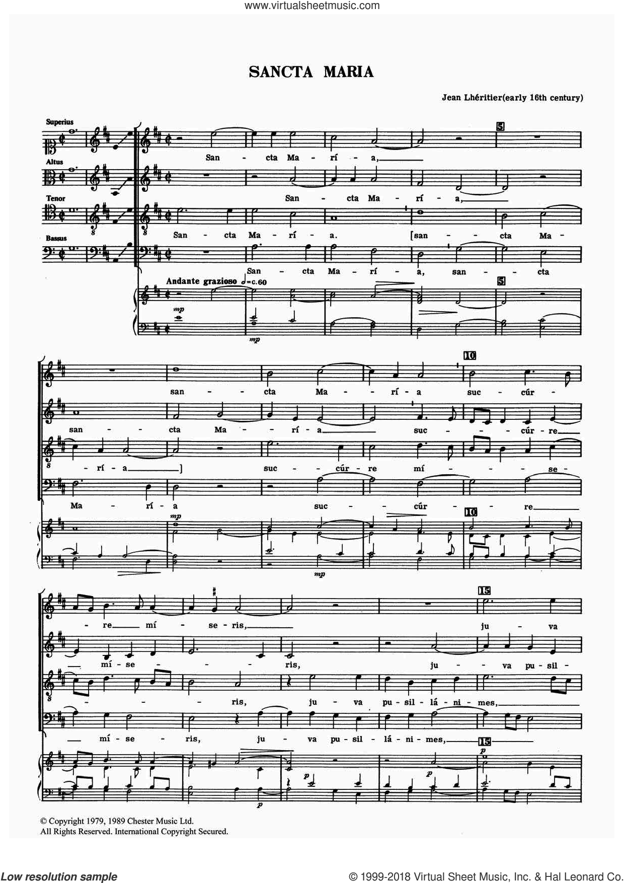 Sancta Maria sheet music for choir by Jean Lheritier, classical score, intermediate. Score Image Preview.