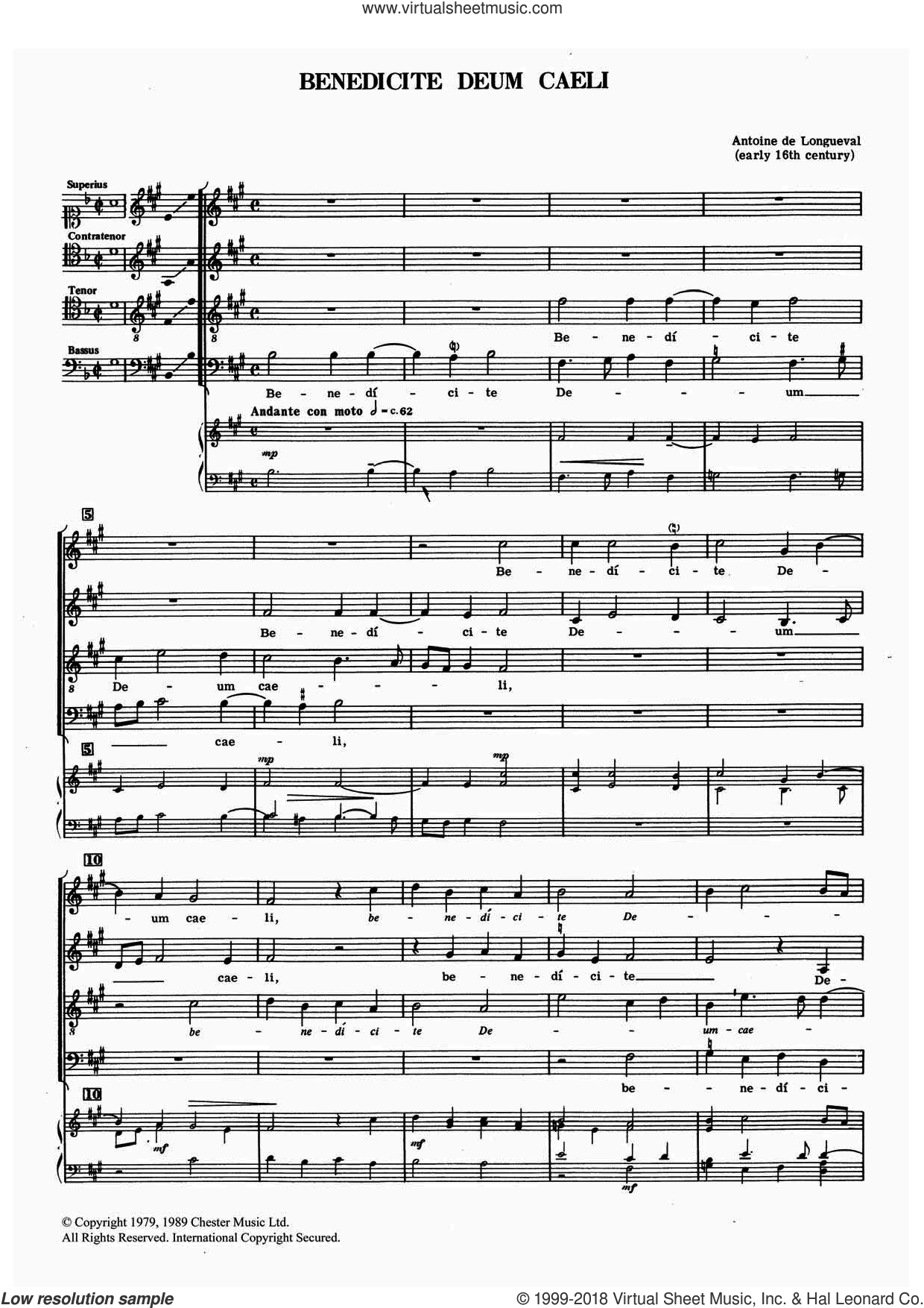 Benedicte Deum Caeli sheet music for choir and piano by Antoine de Longueval. Score Image Preview.