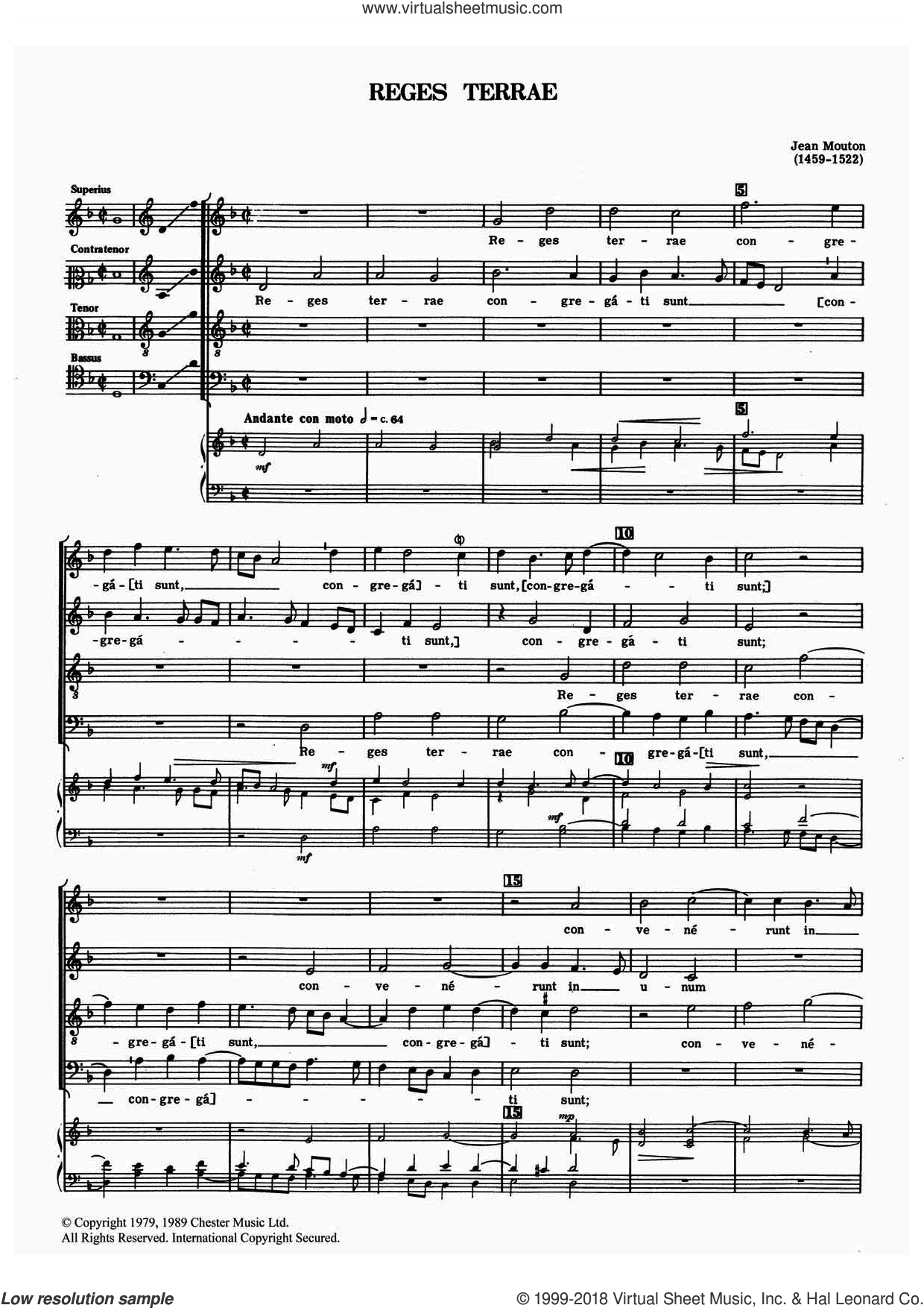 Reges Terrae sheet music for choir by Jean Mouton, classical score, intermediate. Score Image Preview.