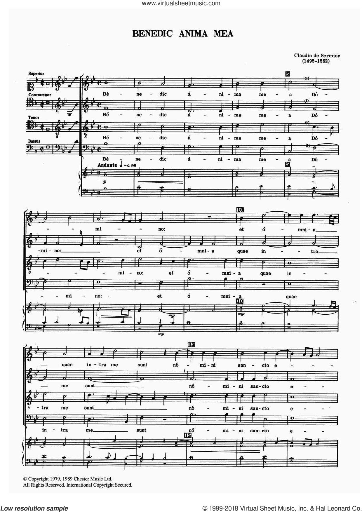 Benedic Anima Mea sheet music for choir by Claudin de Sermisy. Score Image Preview.